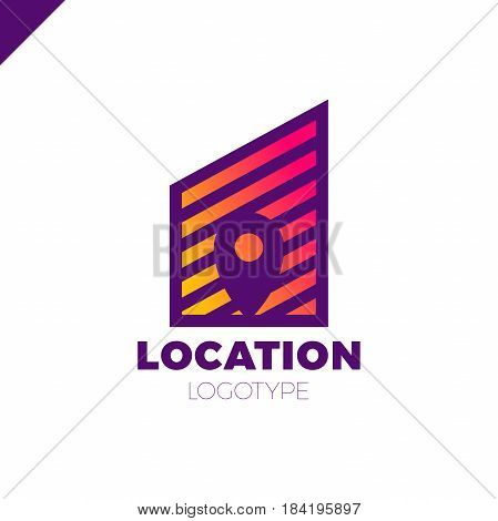 Logo Location Map Negative Space Symbol In The Line City Build Vector Design Template. Geo Point Log