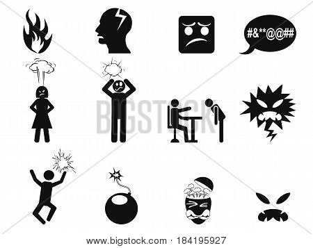 isolated black angry icons set on white background