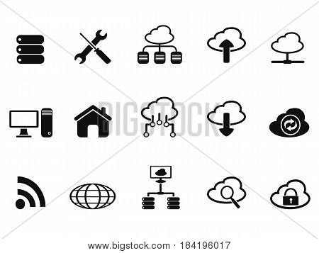 isolated black cloud network icons set from white background