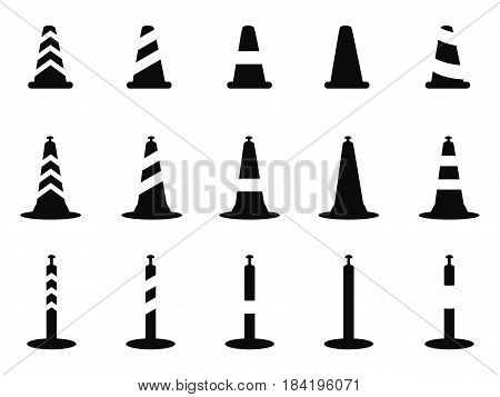 isolated black traffic cone icon from white background