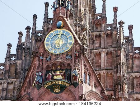 Nuremberg, Germany - April 2, 2017: Church on Hauptmarkt square, Nuremberg