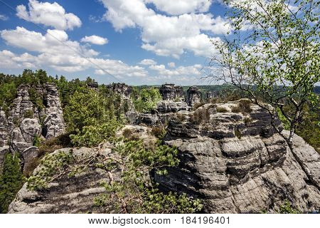 Saxon Switzerland in Germany. Natural rock landscape