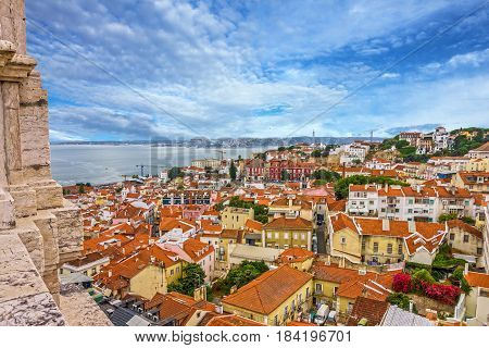 Lisboa city view, Tagus river panorama, Portugal