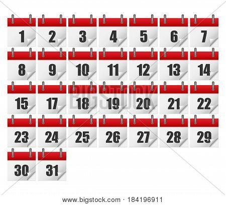 Calendars for all 31 days of a month. Calendar icons set. isolated on background. Vector illustration. Eps 10.
