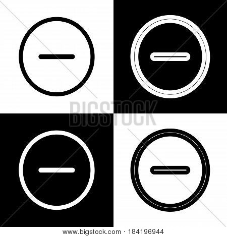 Negative symbol illustration. Minus sign. Vector. Black and white icons and line icon on chess board.