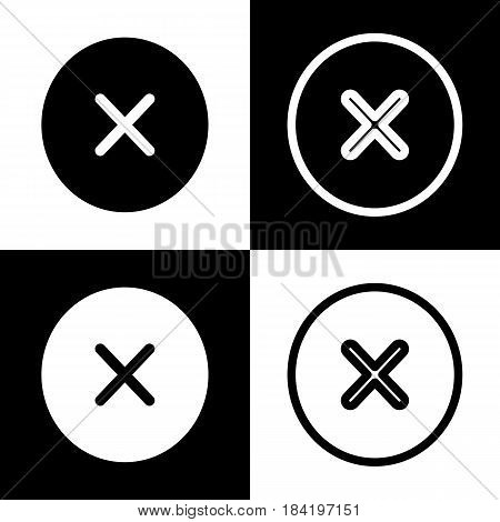 Cross sign illustration. Vector. Black and white icons and line icon on chess board.