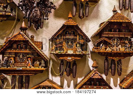 Munich, Germany - May 1, 2017: Vintage cuckoo clocks in shop Bavaria, Germany