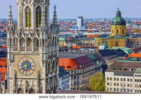 Munich town, Germany Bavaria. Marienplatz town hall