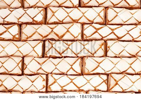 Delicious puff pastry as background. Abstract Delicious puff pastry as background