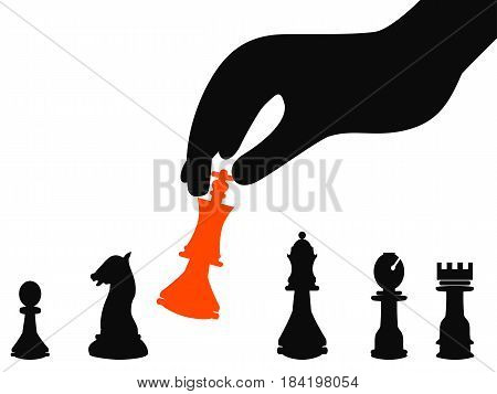isolated businessman hand picking strategy background from white background