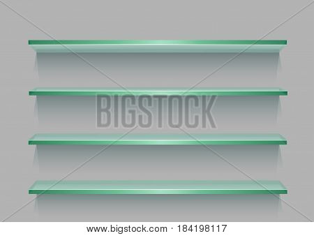 Glass store empty shelf template with shadow for goods on gray background. Frame supermarket shop furniture design. Demonstration board