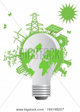 the concept background of clean eco light bulb