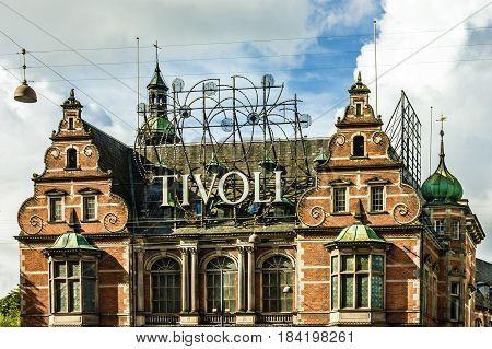 Copenhagen, Denmark - May 1, 2017: Tivoli Gardens in Copenhagen - famous amusement park and pleasure garden in Denmark.