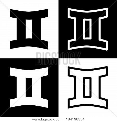 Gemini sign. Vector. Black and white icons and line icon on chess board.
