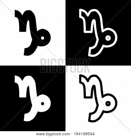 Capricorn sign illustration. Vector. Black and white icons and line icon on chess board.