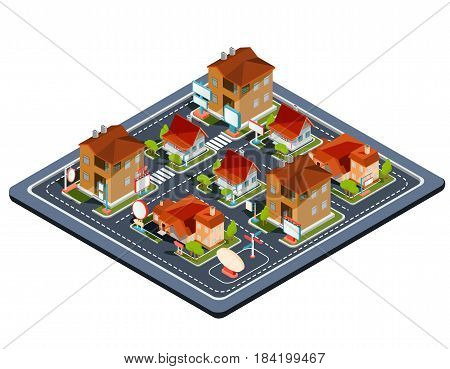 Vector isometric illustration residential quarter with icons of residential houses, cottages with garage, yard, green lawn for advertising brochures of real estate