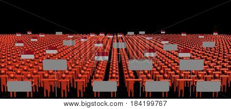 Crowd of people with signs and Singapore flags 3d illustration