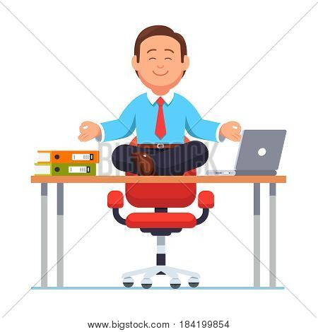 Business man or executive manager sitting on office desk in padmasana lotus yoga pose doing mindful meditation with smile on face. Modern flat style vector illustration isolated on white background.