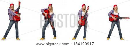 Hipster guitar player isolated on white