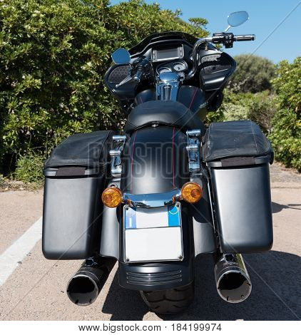 Alghero Italy - April 21 2017: Harley Davidson Road Glide special rear view