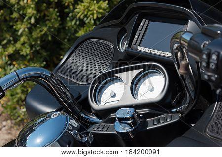 Alghero Italy - April 21 2017: Harley Davidson Road Glide special handlebar