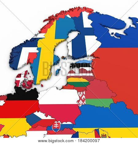 3D Map Of Northern Europe With National Flags On White Background 3D Illustration