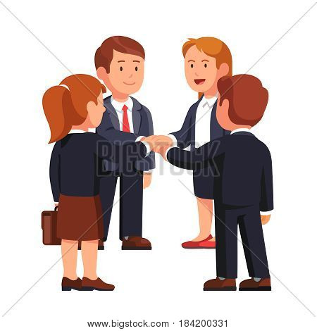Business people man and woman putting hands together while standing. Executive management teamwork, team building and togetherness. Modern flat style vector illustration isolated on white background.