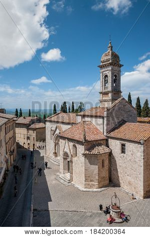 San Quirico d'Orcia, Tuscany, Italy - April  23, 2017: the romanic church of San Quirico in the old center of the village