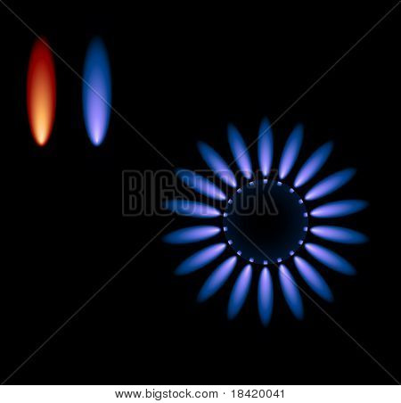 Vector gas stove with blue flames