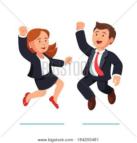 Business man and woman jumping together, shouting and making winner gestures raising hands with clenched fists up over heads. Modern flat style vector illustration isolated on white background.