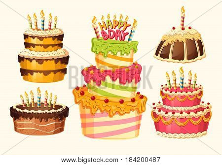 Collection of vector cartoon birthday cakes with candles. Design elements, templates for greeting cards and invitations to a party