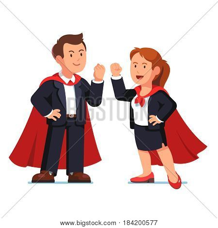Superhero business man and woman managers standing in red capes showing yes winner gestures with clenched fists. Heroes working. Modern flat style vector illustration isolated on white background.