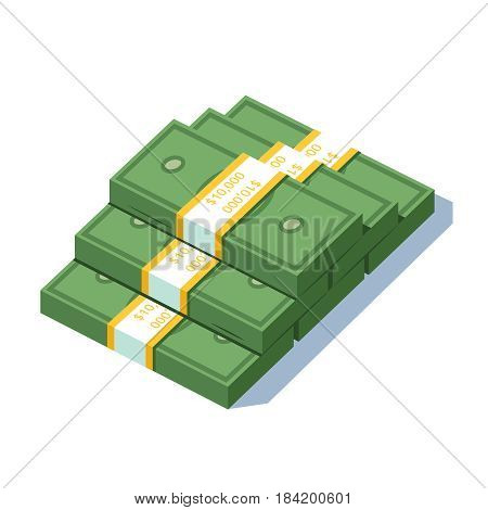 Stacked pile of ten thousand us dollar strapped bundles cash money. Banking or business prosperity concept. Flat style modern vector illustration isolated on white background.