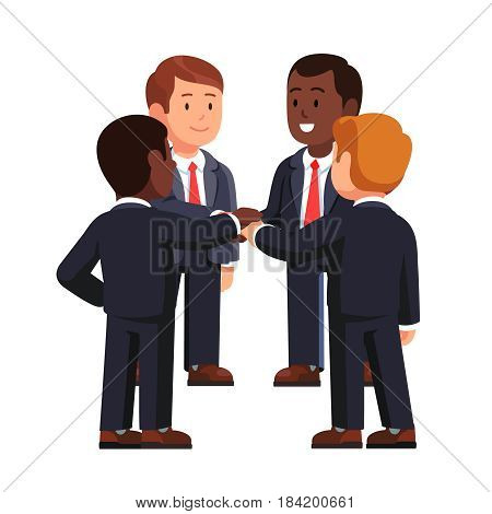 Multiracial business team standing in circle joining hands together. Project, small entrepreneurship or start up. Teamwork concept. Flat style modern vector illustration isolated on white background.