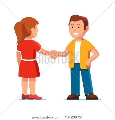 Man and woman standing together shaking hands. Informal meeting of two friends. Partners greeting each other. Friendship concept. Flat style modern vector illustration isolated on white background.