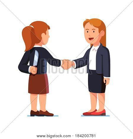 Two business women standing together and shaking each other hands while one holding knife behind her back. Treacherous deal, fraud. Flat style modern vector illustration isolated on white background.
