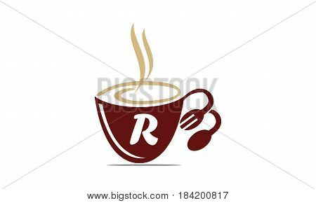 This image describe about Coffee Cup Restaurant Letter R