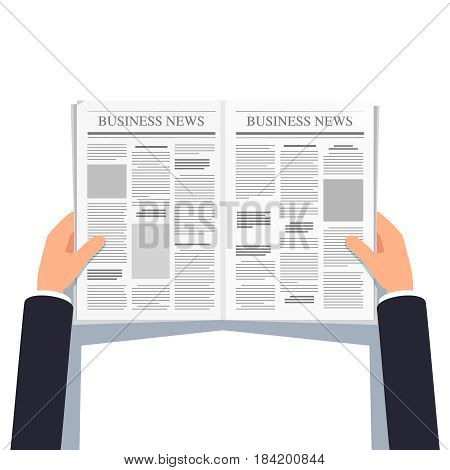 Opened newspaper in businessman hands. Daily business news gazette concept. Paper media tabloid concept. Flat style modern vector illustration isolated on white background.