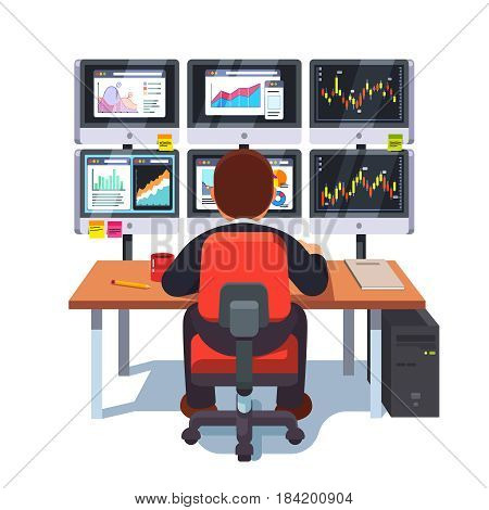 Stock market exchange trader working selling and buying equity sitting at desk with six displays monitoring financial indexes data online. Looking at charts. Flat style modern vector illustration.
