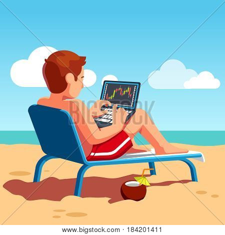 Stock exchange market trader selling and buying shares, equity using laptop computer terminal on ocean beach shore drinking cocktail. Business man summer vacation work. Flat style vector illustration