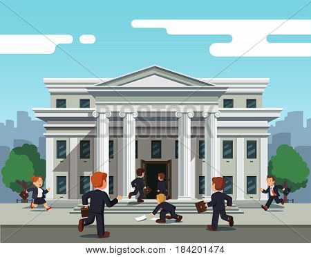 People man and woman running towards bank to take credit for small business or entrepreneurship. Front view of governmental building or court. Flat style modern vector illustration.