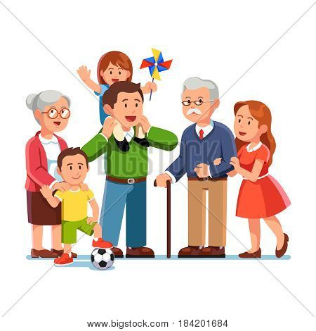 Grandparents, young parents and children standing together. Little daughter sitting on father shoulders. Grandma embracing grand son. Generations and family love. Flat style vector illustration.