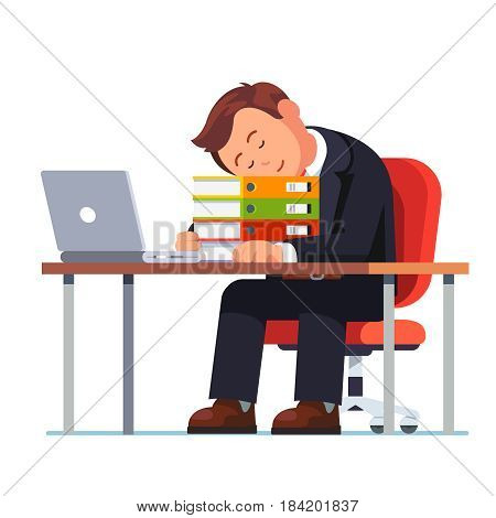 Overworked businessman falling asleep on the pile of folders at his workplace desk. Tired and exhausted office worker sleeping after complete project paperwork. Flat style modern vector illustration.
