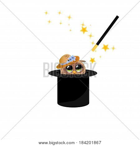 Very high quality original trendy vector illustration of magic hat with owl in hat and wand with sparkles