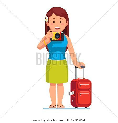 Happy young woman tourist standing with her baggage spinner valise and taking photo. Summer holiday and travelling concept. Flat style modern vector illustration isolated on white background.