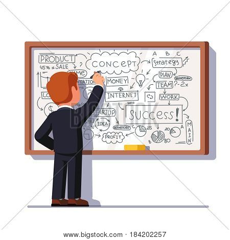 Business man teacher standing in front of the white board and drawing business plan strategy and tactics theory or showing project diagram. Flat style vector illustration isolated on white background.