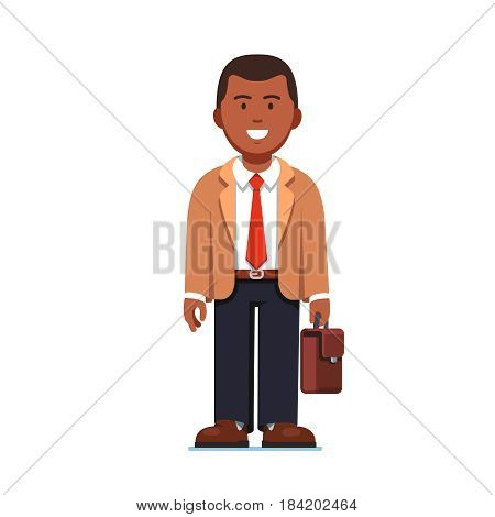 Afro American business man standing with suitcase in hands. Full-length portrait of young office worker. Flat style modern vector illustration isolated on white background.