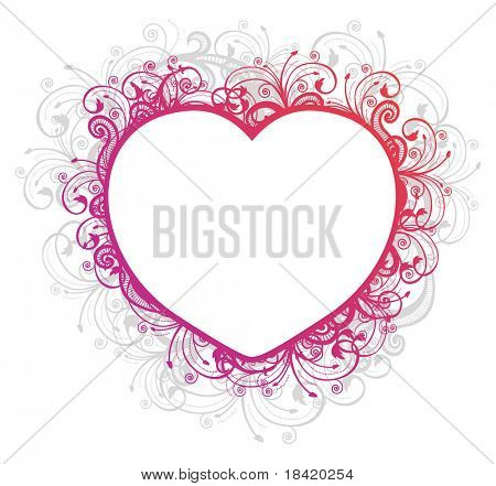 Vector illustration of floral heart frame over white background