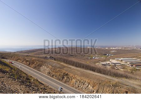 View of the city from above in solar but not summer day