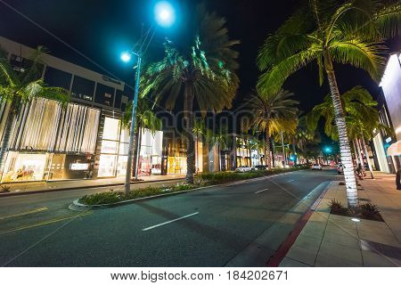Beverly Hills CA USA - October 28 2016: Luxury shops in Rodeo drive